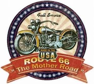 Route 66 En Moto : plaque m tal blason route 66 moto american dreams deco ~ Medecine-chirurgie-esthetiques.com Avis de Voitures
