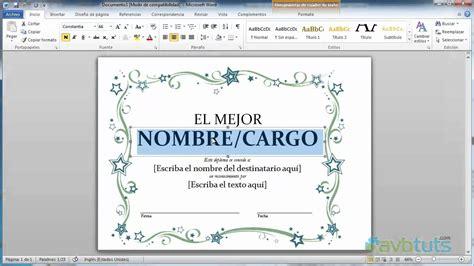 como crear un diploma en word 2010