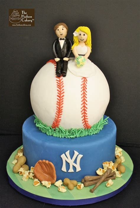 yankees baseball wedding cake  hudson cakery