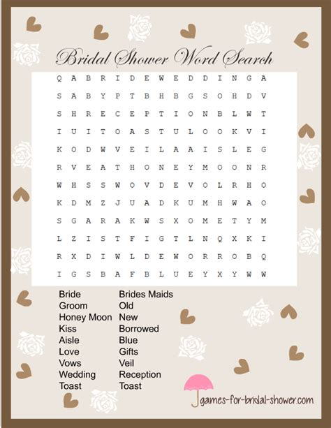 word for shower free printable word search for bridal shower