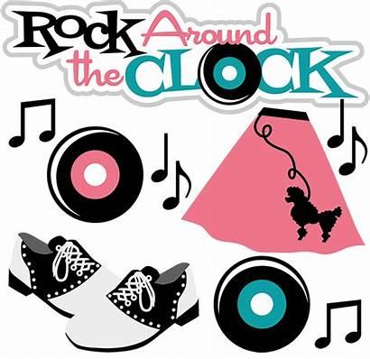 Rock Clock Clipart Around 50s Clip Svg