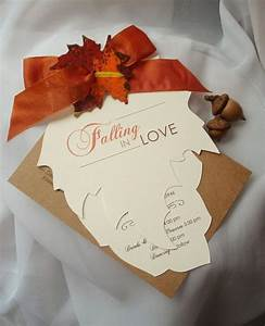 FALLING IN LOVE Hand Cut Autumn Leaf Wedding Invitation ...