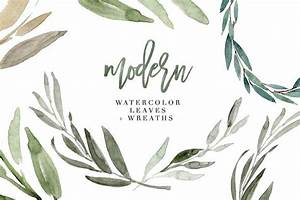 Modern Watercolor Leaves Clipart Set ~ Illustrations ...