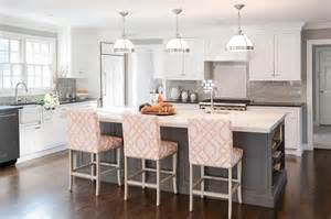 gray kitchen island gray kitchen island with pink trellis counter stools transitional kitchen
