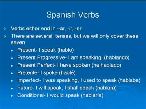 learn  spanish verb tenses   minutes youtube
