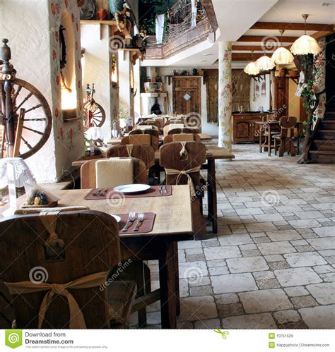Restaurant In Country Style Stock Image  Image Of Chairs