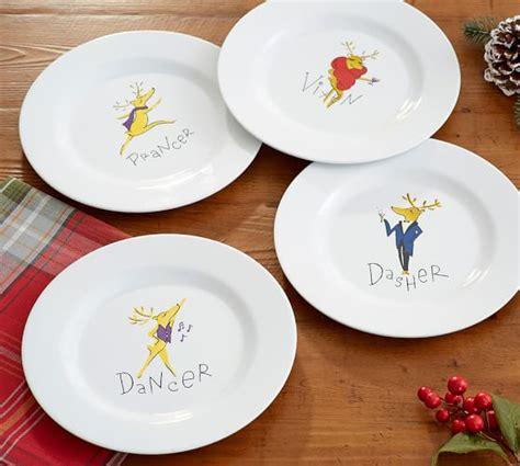 pottery barn reindeer plates reindeer melamine salad plates mixed set of 4 pottery barn