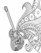 Coloring Guitar Zentangle Journal Doodle Grid Blank Dot Diary Notebook Line Coloriage Musique Piano Mandala Printable Nisi Flip Note Books sketch template