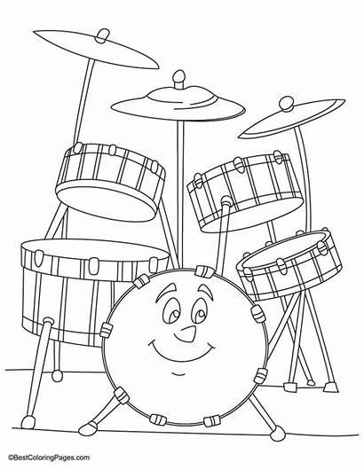 Coloring Bateria Drum Desenho Colorear Instrumentos Dibujos