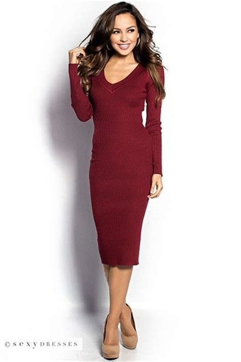 ribbed v neck sweater quot quot burgundy ribbed bodycon sleeve v neck