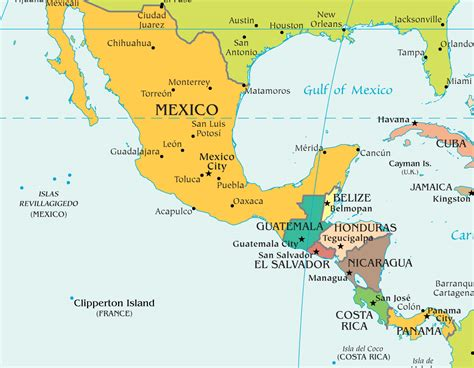mexico  central america map  travel information