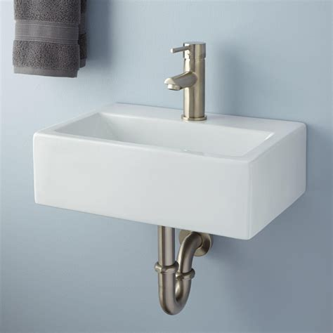 wall mount kitchen sink halley rectangular porcelain wall mount sink bathroom