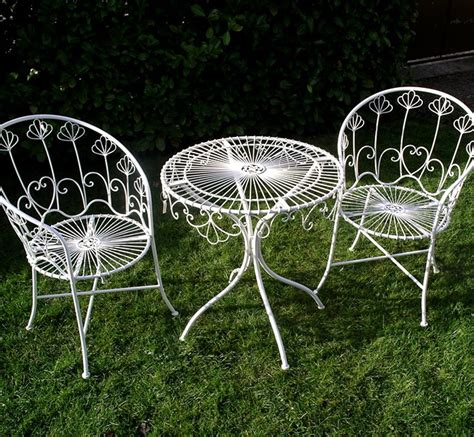 table et chaise de jardin en aluminium salon white painted metal removable 2 garden chairs and