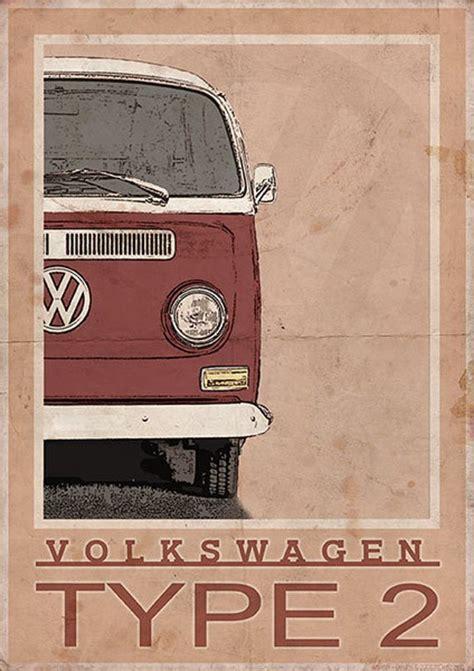 volkswagen type  bay window van bus vintage style poster