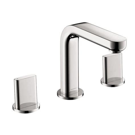 hansgrohe metris s 8 in widespread 2 handle mid arc bathroom faucet in brushed nickel 31063821