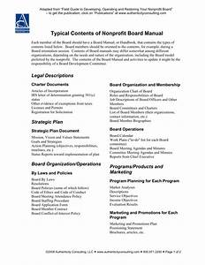 Typical Contents Of Nonprofit Board Manual