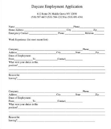 child care employment application form application for employment form 9 free word pdf