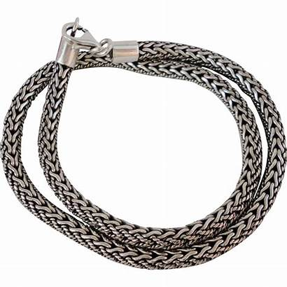 Necklace Silver Woven Heavy Braided Sterling Inches