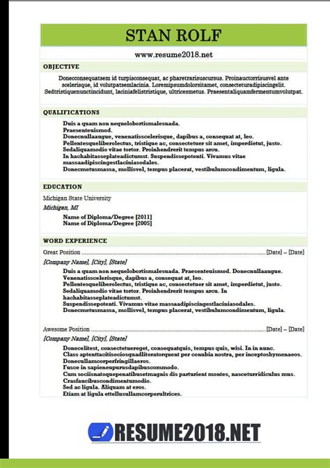 Combination Resume Template Word by Resume Format 2018 20 Free To Word Templates