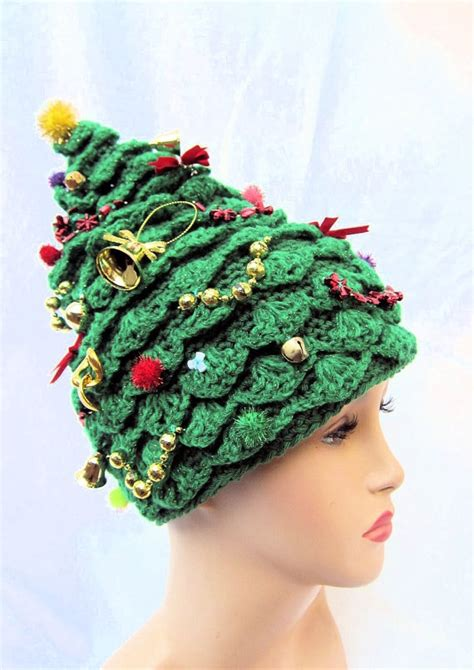 christmas tree hat crochet hat creative hat green hat
