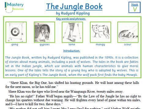 the jungle book by rudyard kippling comprehension ks2 by