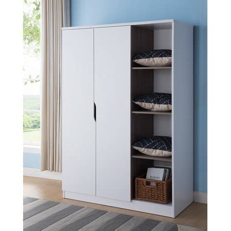 Wooden Wardrobe With Shelves by Wooden Wardrobe With Open Side Shelves White And Brown