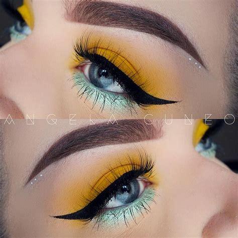 yellow  mint makeup yellow makeup eye makeup