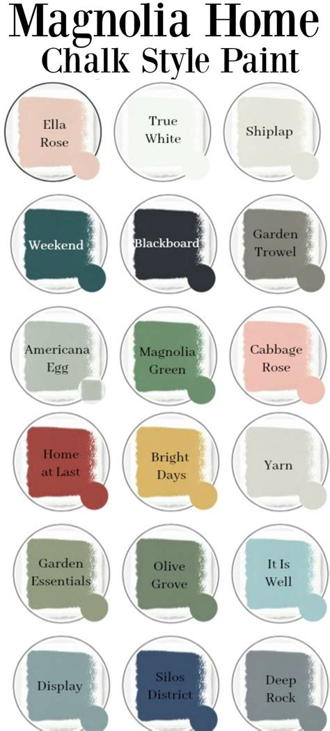 magnolia home chalk style paint colors overview