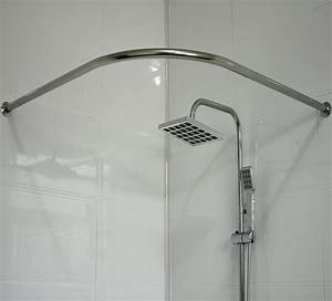 L shaped shower curtain rod picture gallery of the l for Bathroom curtain poles