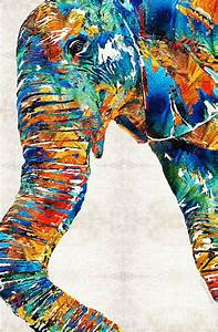 Colorful Elephant Art By Sharon Cummings Painting by ...