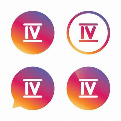 Four Number Roman Numeral Symbol Icon Stylized