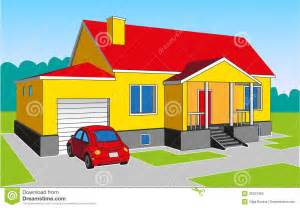 House with Garage and Car Clip Art