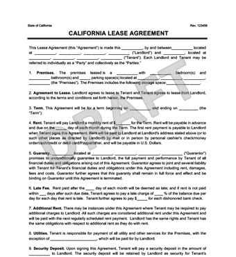 california residential leaserental agreement create