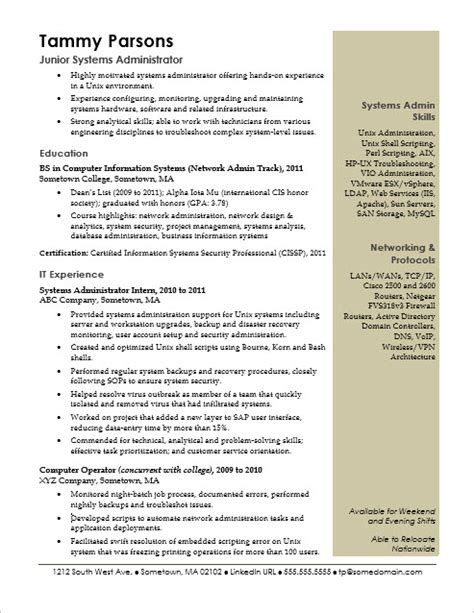resume for network administrator entry level sle resume for an entry level systems administrator