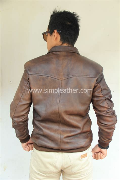 jaket kulit pria casual  simple leather