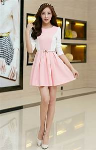 Korean 2014 Elegant Princess Dress Fitted Sweet Pink Round Neck Long Puff Sleeve Women Party ...