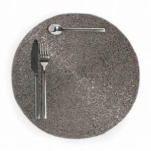 Set De Table Argenté : set de table rond argent d 33 cm perle maisons du monde ~ Teatrodelosmanantiales.com Idées de Décoration