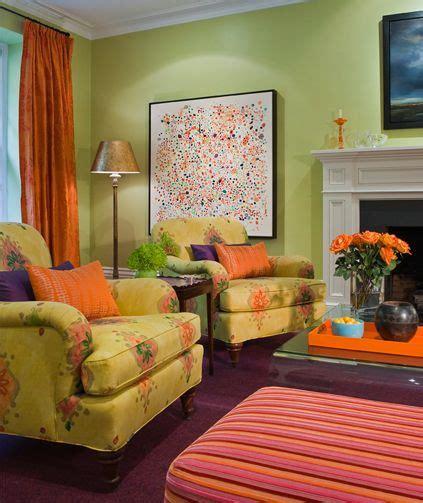 green living room  orange  purple accents