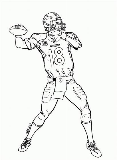 Coloring Football Pages Broncos Denver Drawing