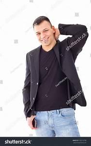 Confident Casual Man Black Suit Jacket Stock Photo ...