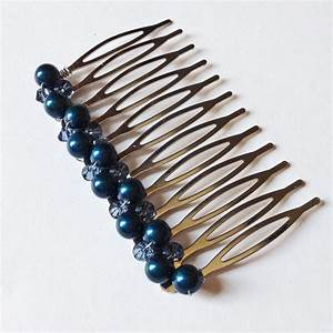 Navy Blue Pearl Crystal Hair Comb Something Blue