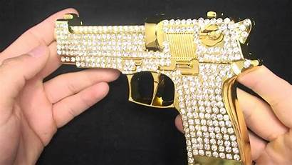 Gold Ak 47 Guns Iced Yellow Buckle