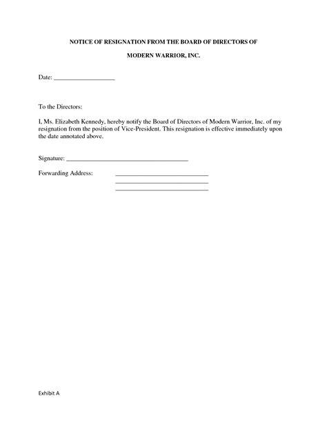 board resignation letter sample format  profit ideas