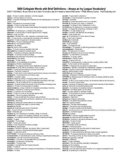 5000 toefl words vocabulary