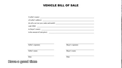 free vehicle bill of sale template bill of sale