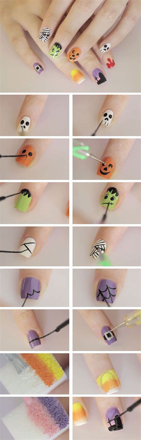 easy step  step halloween nails art tutorials