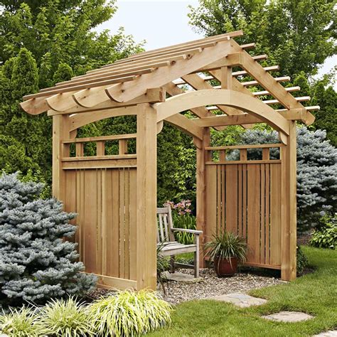 arching garden arbor woodworking plan  wood magazine
