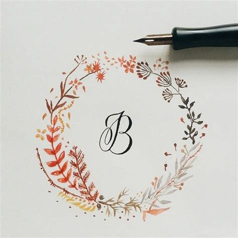 B  Calligraphy With Floral Watercolor Wreath Graphic