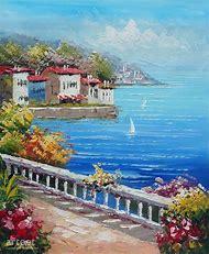 Sunny Sky with Ocean Oil Paintings