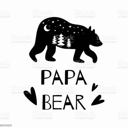 Bear Silhouette Papa Forest Adventure Funny Dad